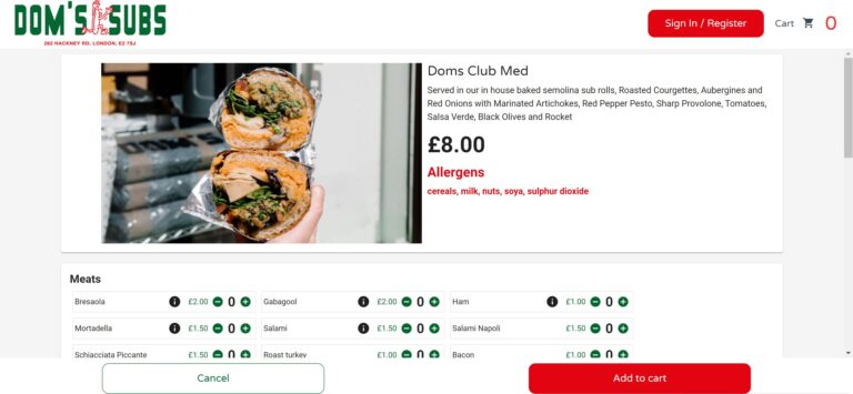 Online ordering platform Allergens